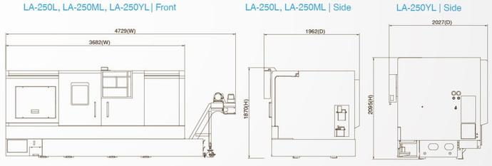 台湾泷泽LA-250ML机械尺寸图