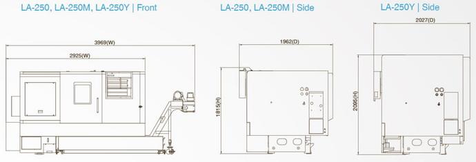 台湾泷泽LA-250Y机械尺寸图